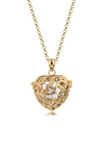 Nenalina Kette mit Anhänger »Herz Klangkugel Granat Ornament 925 Silber« kaufen