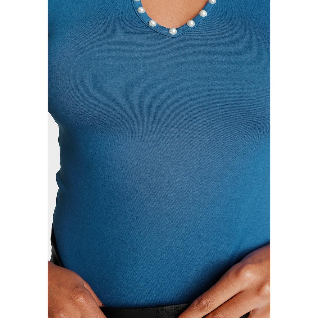 Melrose Rundhalsshirt, mit Zierperlen - NEUE KOLLEKTION