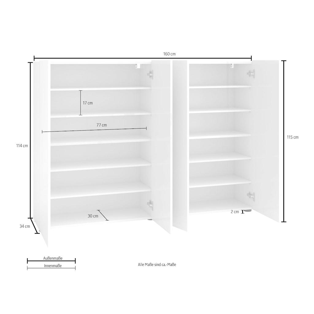 KITALY Schuhschrank »Mister«, Breite 160 cm, 4 Türen, Hochglanz Lackierung