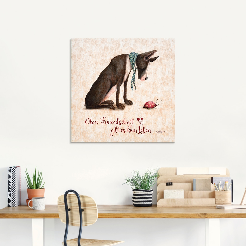 Artland Glasbild »Lebensweisheit Freundschaft«, Tiere, (1 St.)