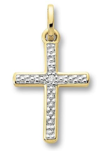 ONE ELEMENT Kreuzanhänger »Kreuz Anhänger aus 585 Gelbgold mit 0,01 ct Diamant« kaufen