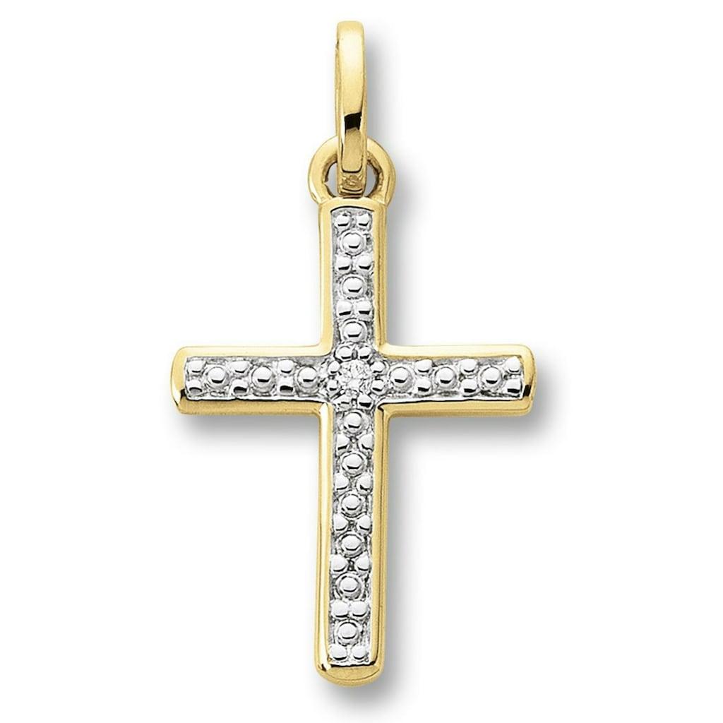 ONE ELEMENT Kreuzanhänger »Kreuz Anhänger aus 585 Gelbgold mit 0,01 ct Diamant«