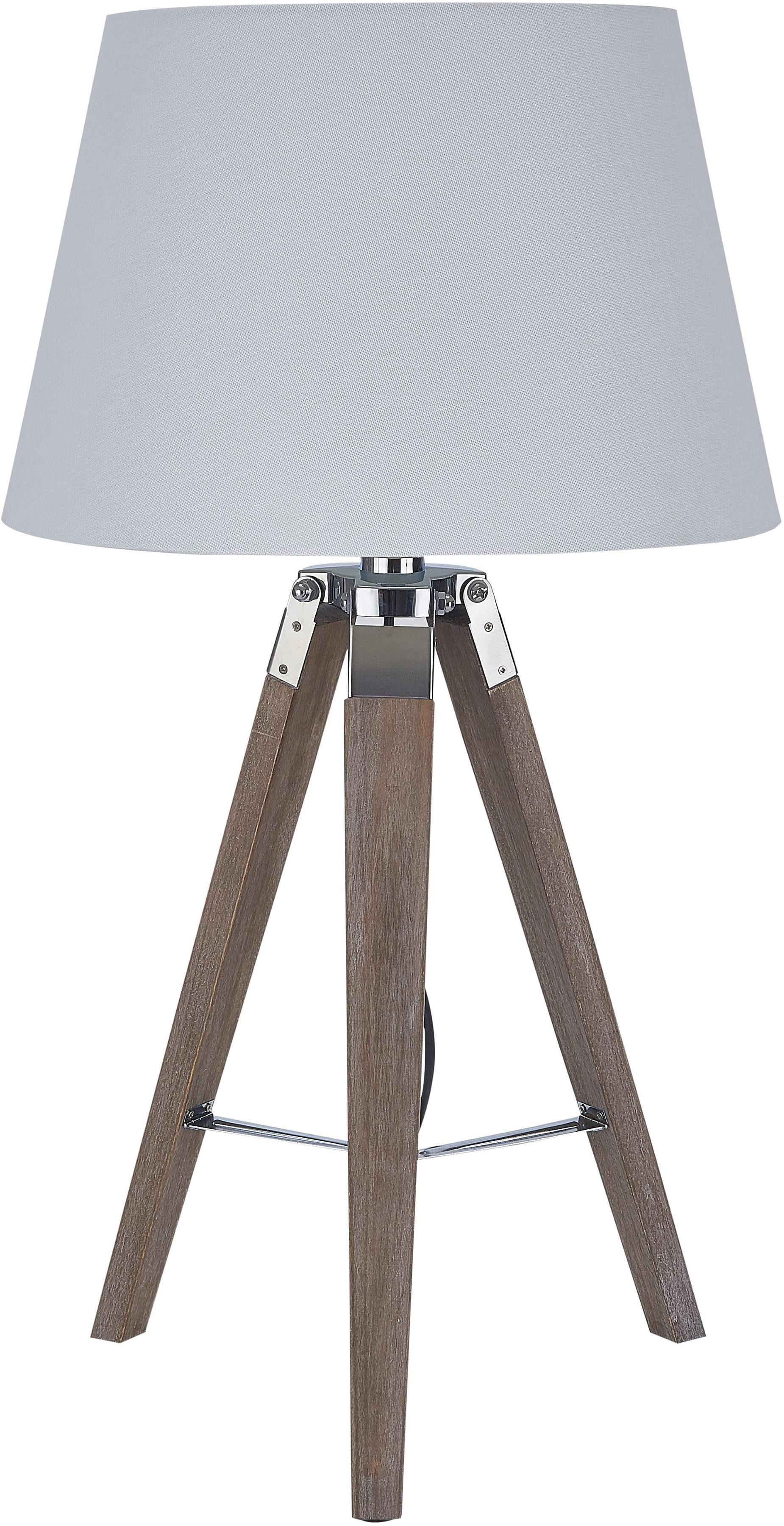 SIT Tischleuchte, E27, Stoffschirm mit Massivholzfuß