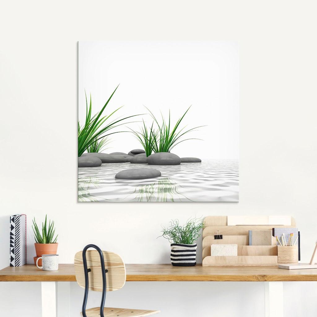 Artland Glasbild »3 D Steine«, Zen, (1 St.)