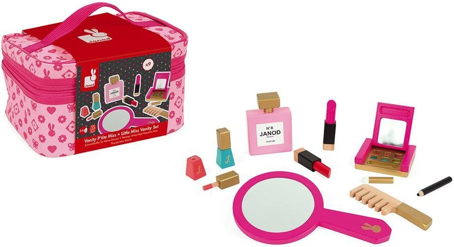 Janod Spielzeug-Frisierkoffer Schminkköfferchen Little Miss, rosa Kinder Kinderkosmetik -schmuck Basteln, Malen, Kosmetik Schmuck