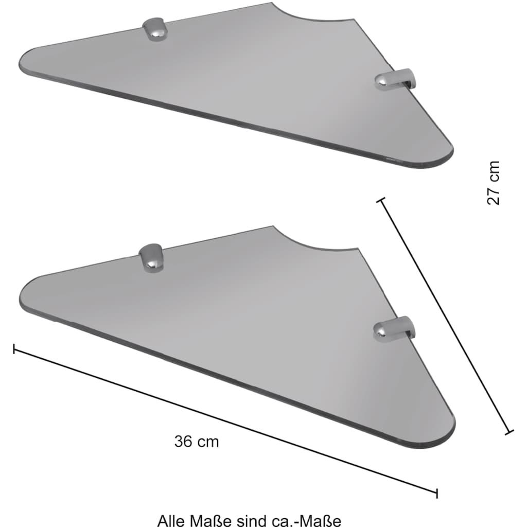 welltime Eckregal »Duschregal«, (Packung, 2 St.), Breite 36,5 cm, mit Klarglas Ablagen