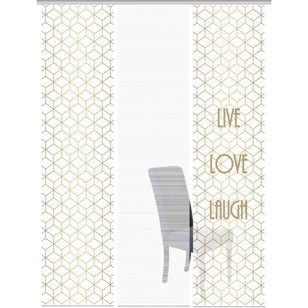 Vision Schiebegardine »LIVE LOVE LAUGH 3er SET«, Bambus-Optik, Digital bedruckt