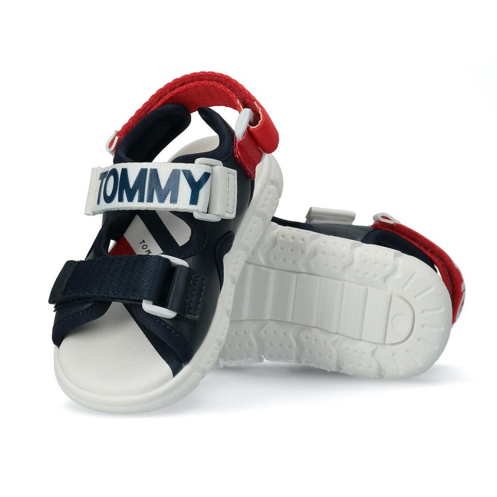 TOMMY HILFIGER Sandale, mit dreifachem Klettverschluss