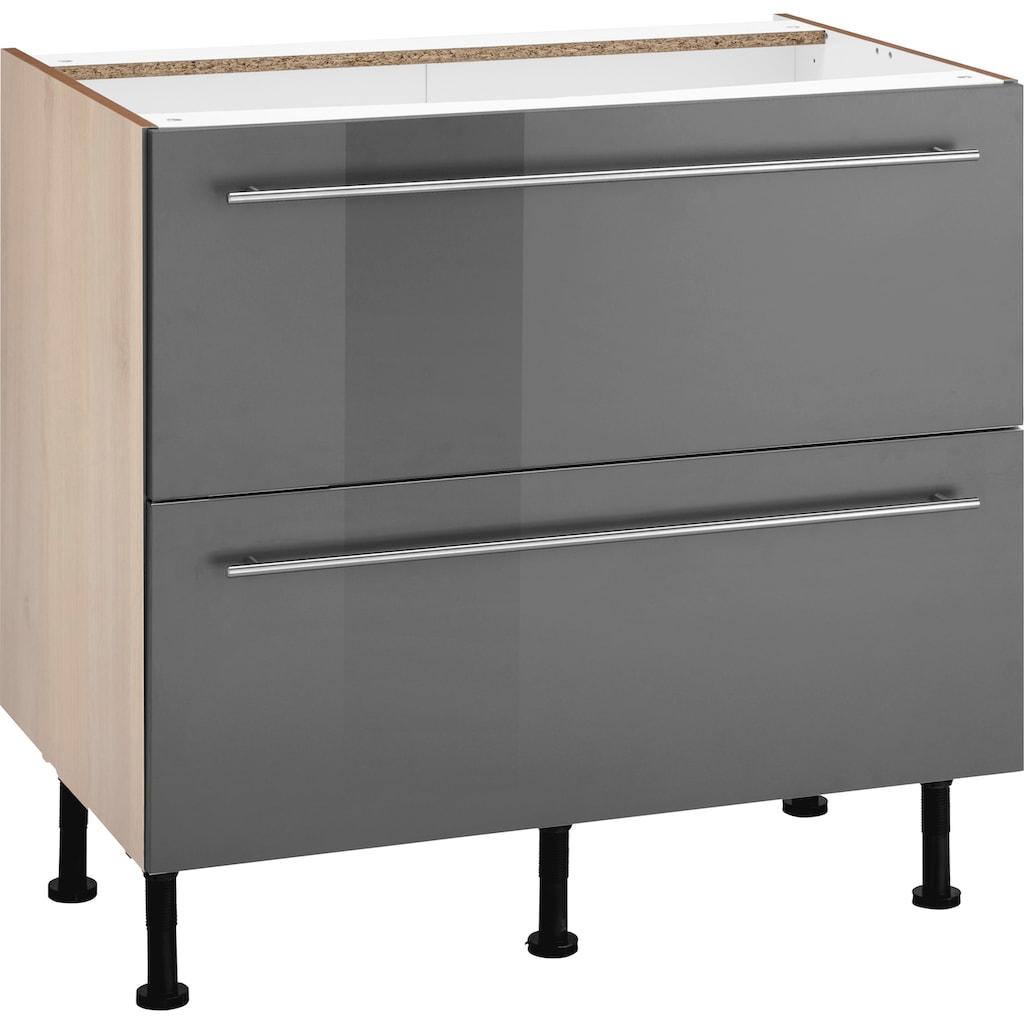 OPTIFIT Unterschrank »Bern«, 90 cm breit, mit 2 großen Auszügen für viel Stauraum, mit höhenverstellbaren Füßen, mit Metallgriffen