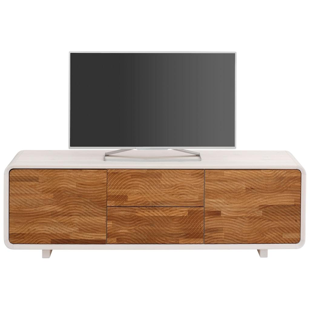Premium collection by Home affaire Lowboard »Avery«, mit dekorativen Fräsungen aus Eiche massiv, Breite 165 cm