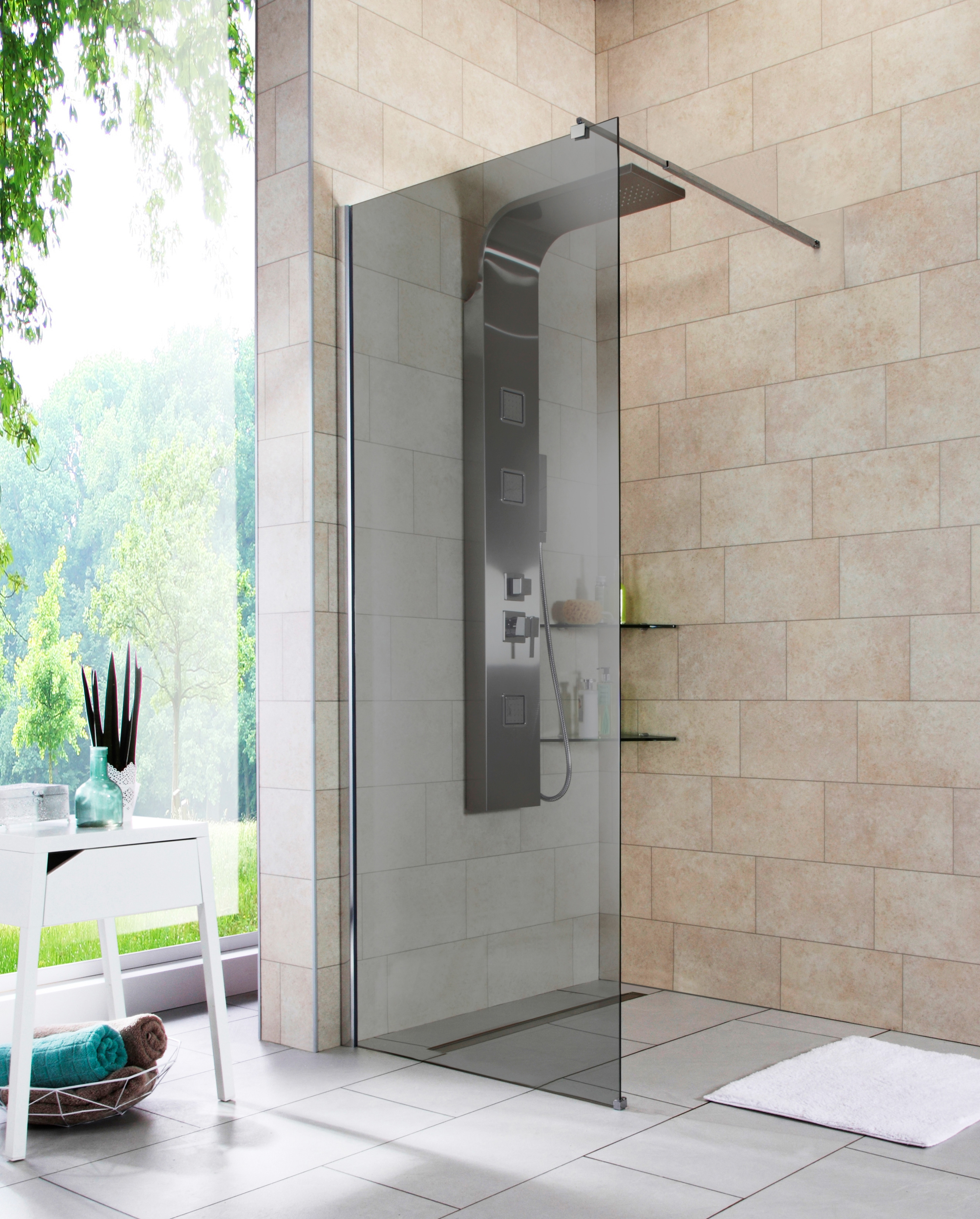 Walk-In Dusche »Duschabtrennung«, Breite 80 cm, Grauglas online bestellen |  BAUR