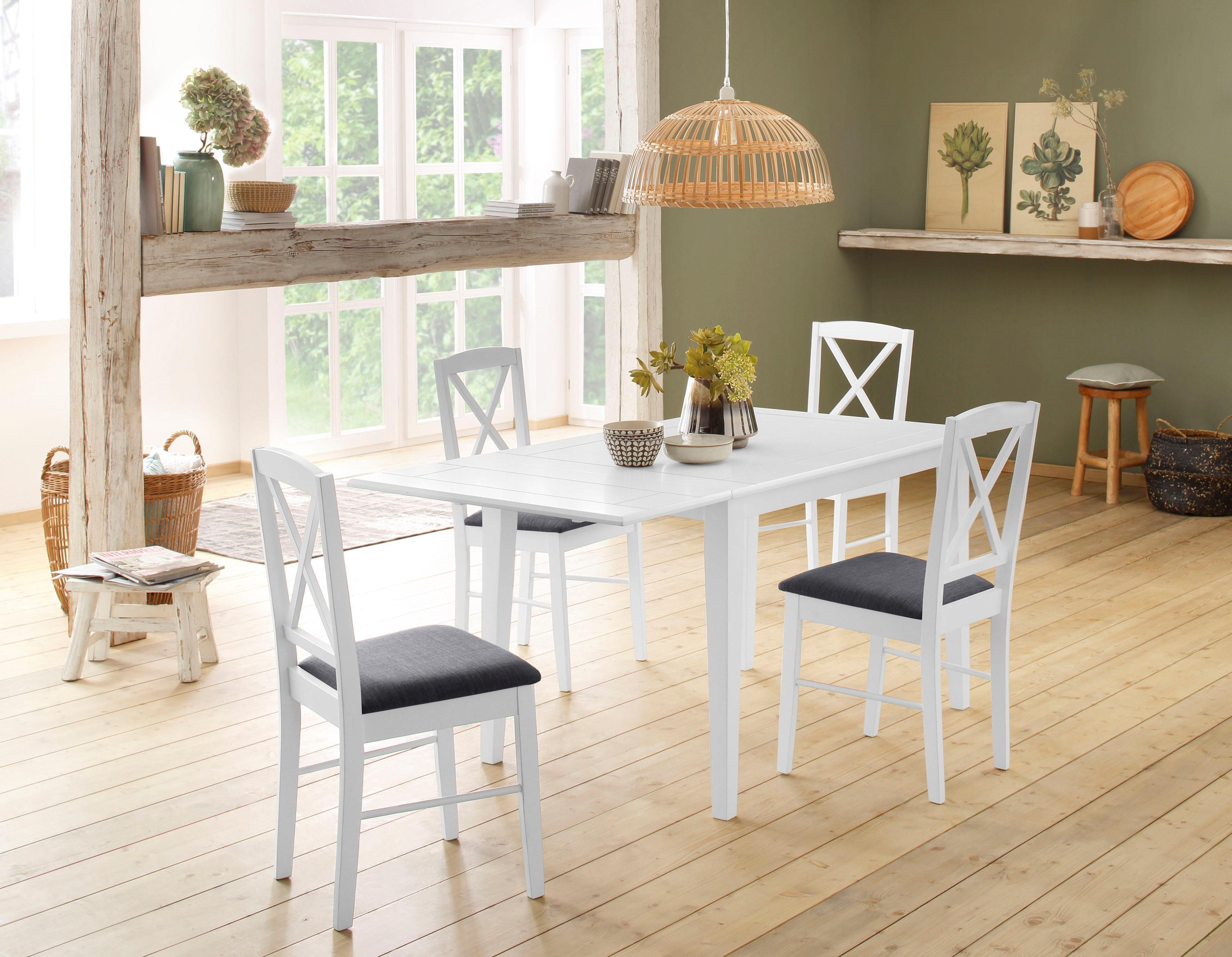 Home affaire Essgruppenset Olvera bestehend aus Fullerton Esstisch 120 cm 4 Sonoma Esszimmerstühlen und 1 Ansteckplatte (5-tlg)