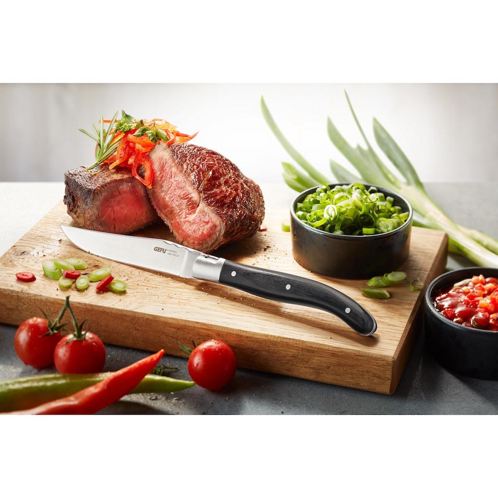 GEFU Steakbesteck »Basco«, (Set, 4 tlg.), Klingenstahl, 4-teilig, in edler Kiefernholz-Box
