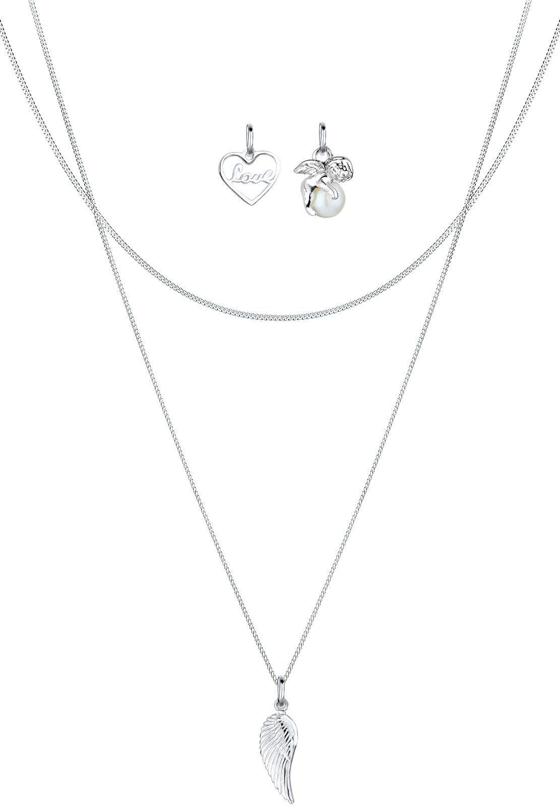 Elli Perlenketten-Set Anhänger-Set Herz Engel Flügel 925 Silber | Schmuck > Halsketten > Perlenketten | Elli