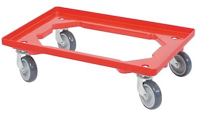 Transportroller, BxT: 60x40 cm, rot, 4 Lenkrollen, graue Gummiräder kaufen