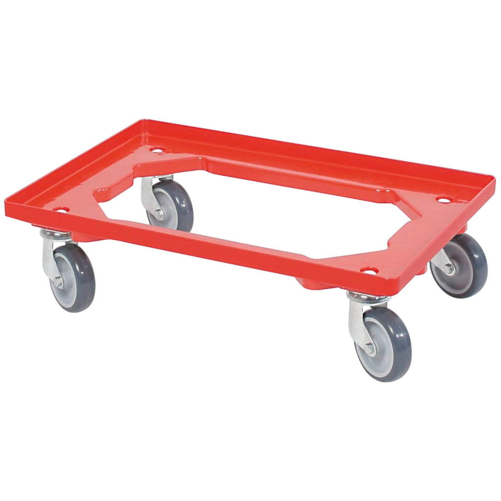 Transportroller, BxT: 60x40 cm, rot, 4 Lenkrollen, graue Gummiräder