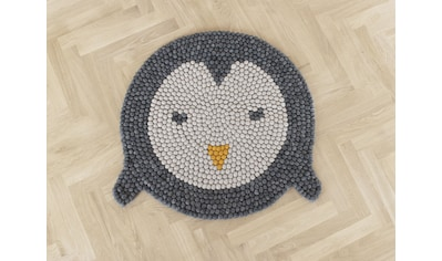 Wooldot Kinderteppich »Pinguin«, rund, 23 mm Höhe, Filzkugelteppich, 100 % Wolle,... kaufen