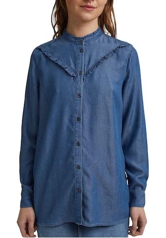 edc by Esprit Jeansbluse, in Jeans-Optik mit Rüschen kaufen