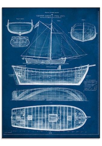 Artland Glasbild »Entwurf für ein Antikes Schiff II«, Boote & Schiffe, (1 St.) kaufen