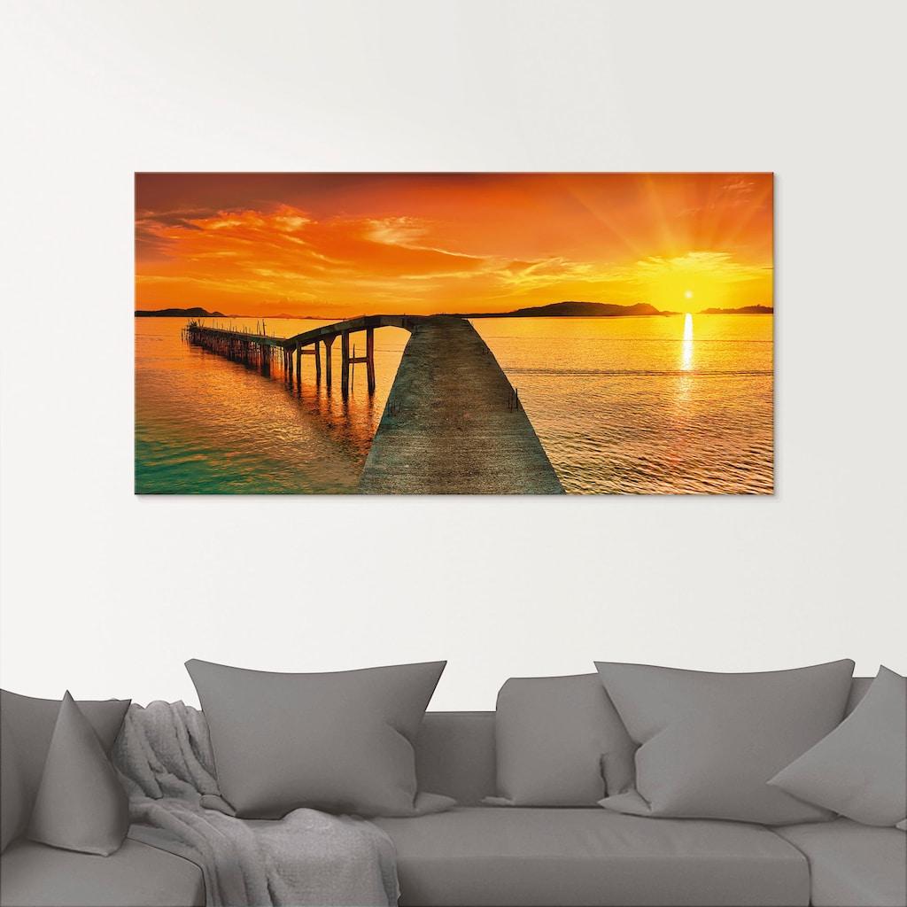Artland Glasbild »Sonnenaufgang über dem Meer«, Gewässer, (1 St.)