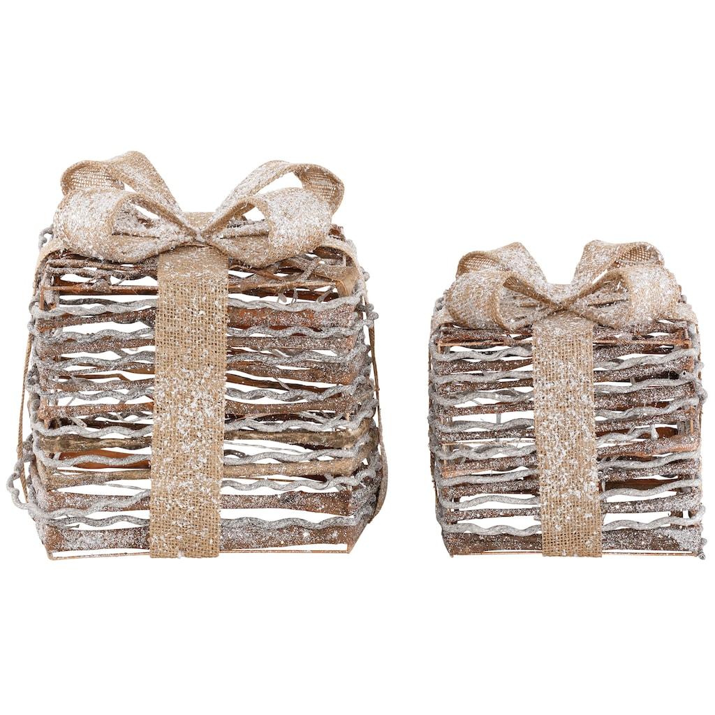 LED Dekolicht »Geschenkbox«, 2-teilig, mit Glitter 20x20x26 cm und 25x25x31 cm