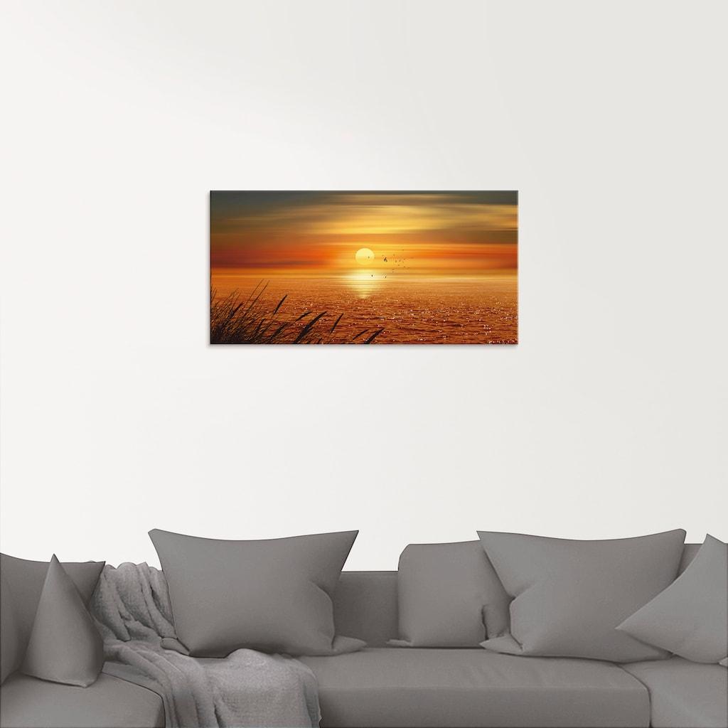 Artland Glasbild »Sonnenuntergang über dem Meer«, Sonnenaufgang & -untergang, (1 St.)