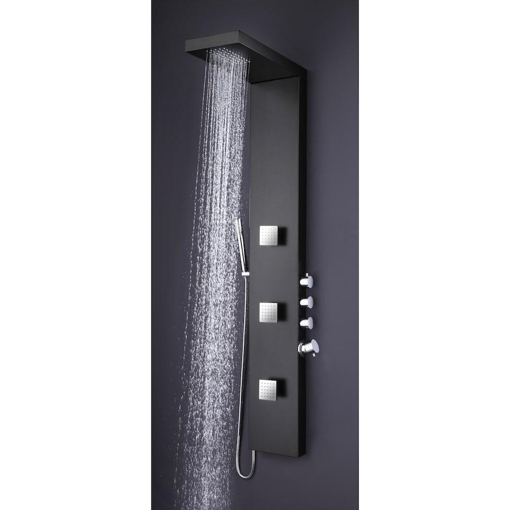 Duschsäule »Black«, Schwarze Regendusche mit Massagefunktion, 150 x 22 cm