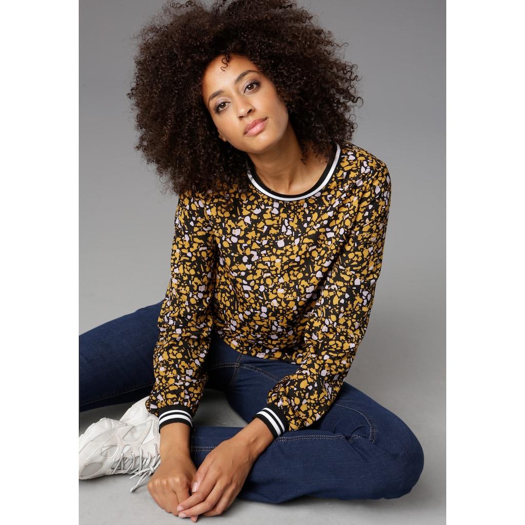 Aniston CASUAL Shirtbluse, mit Rippstrick-Bündchen