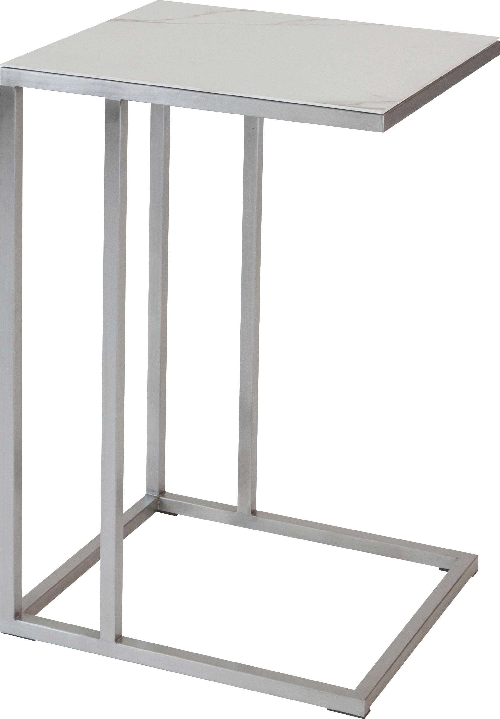 Henke Möbel Beistelltisch, Tischplatte aus hochwertiger Keramik weiß Beistelltische Tische Beistelltisch