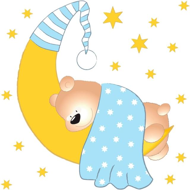 Wandtattoo »Bärchen, Mond und Sterne«