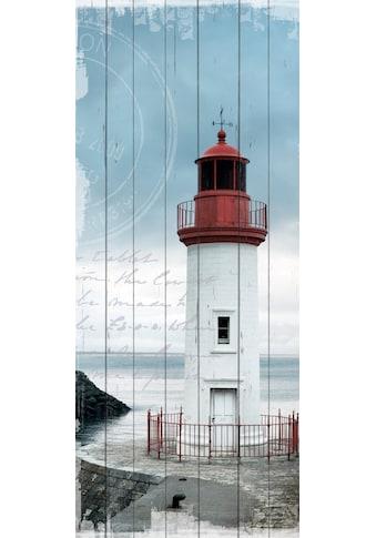 QUEENCE Holzbild »Einsamer Leuchtturm«, 80x40 cm Echtholz kaufen
