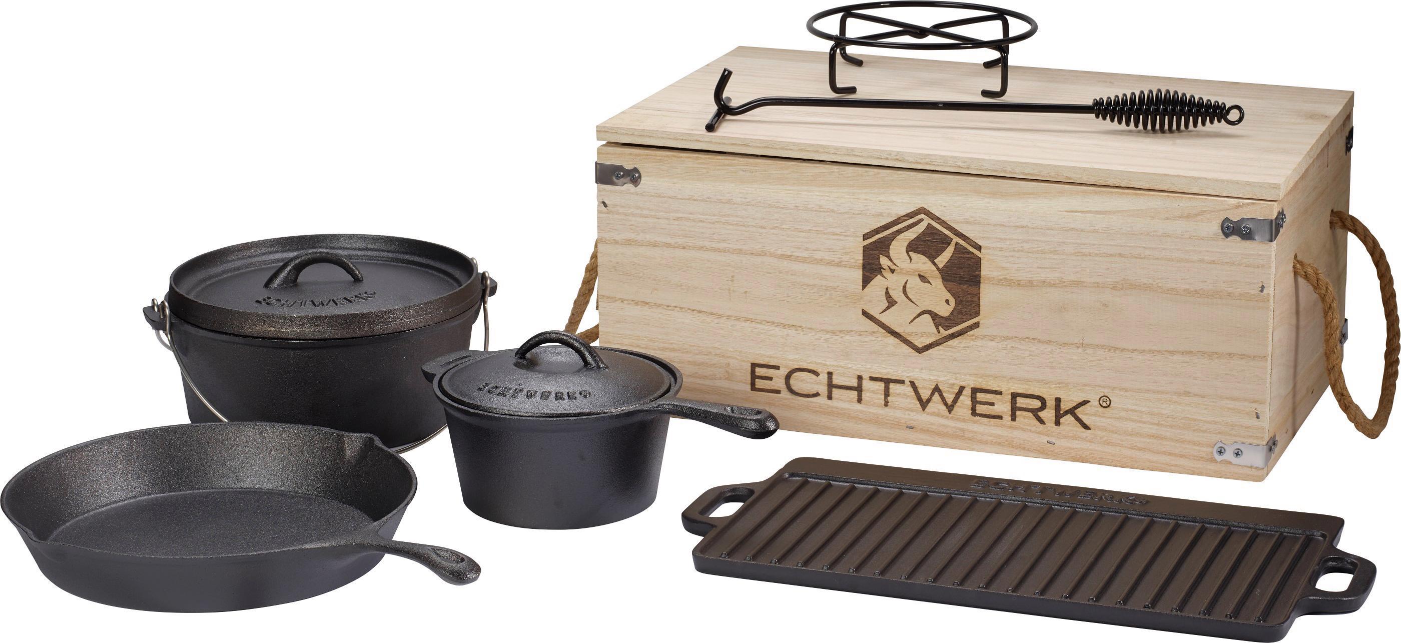 ECHTWERK Topf-Set Dutch Oven, Gusseisen, (Set, 7 tlg.) schwarz Topfsets Töpfe Haushaltswaren