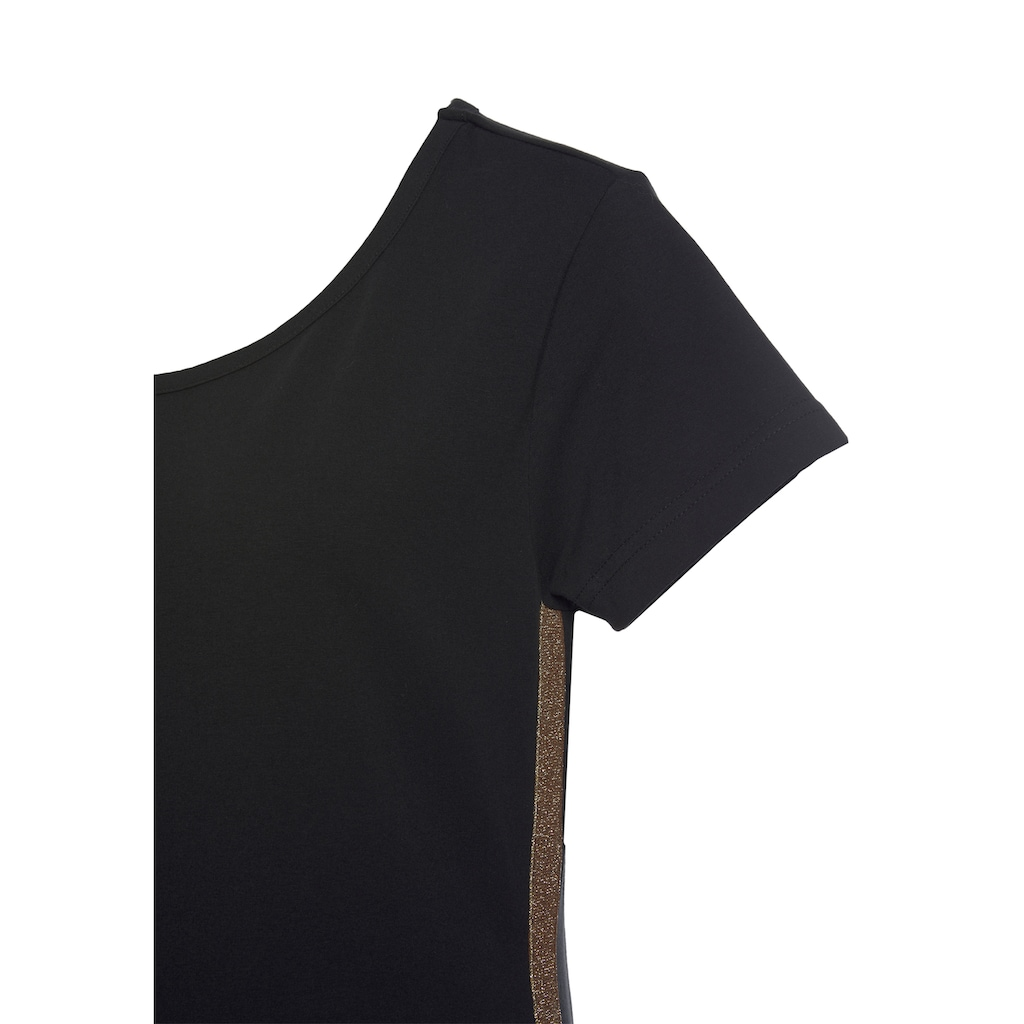 Buffalo Sweatkleid, mit glitzernden Seitenstreifen und Logoschild