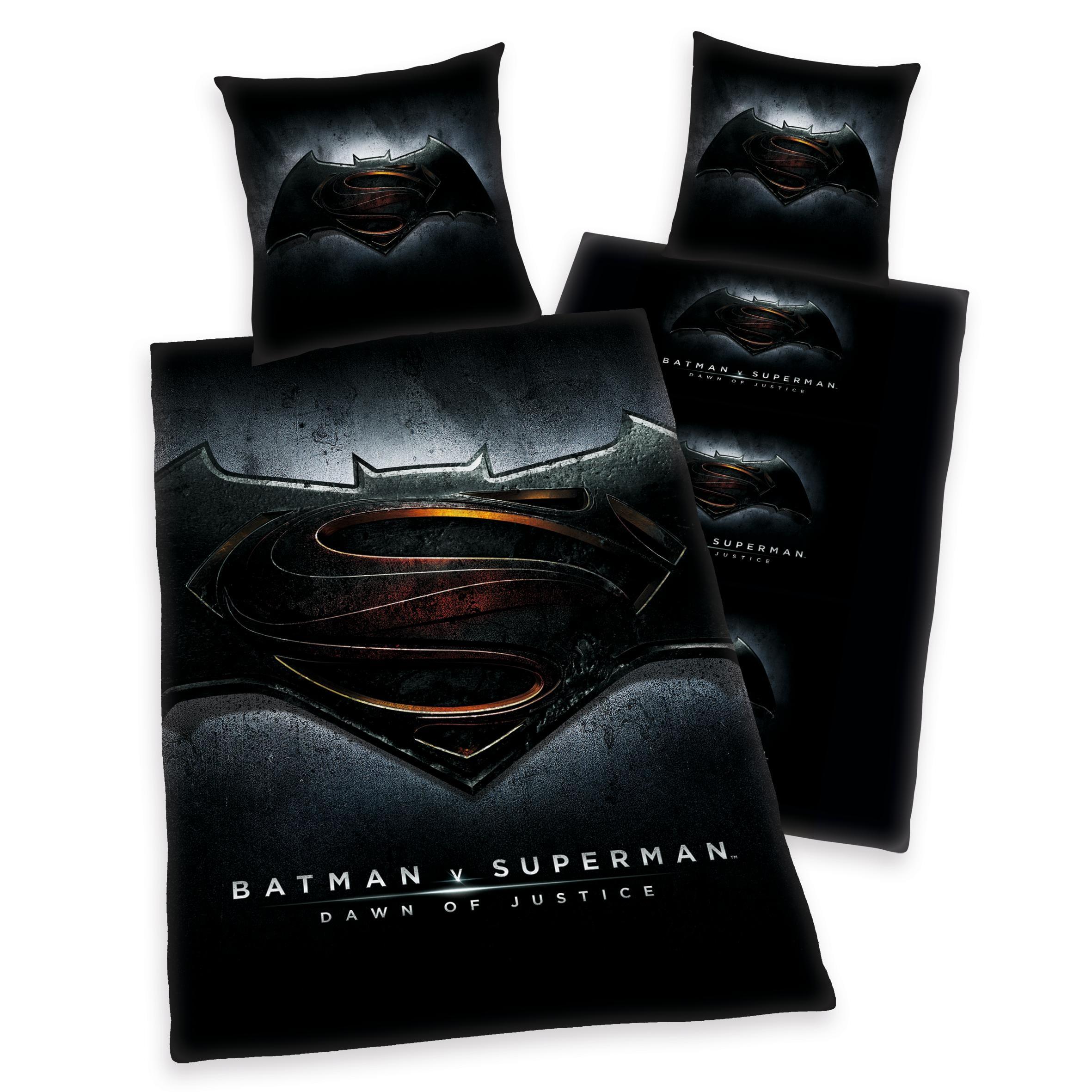 Jugendbettwäsche Batman vs Superman Beginn der Gerechtigkeit mit Batman & Superman Logo
