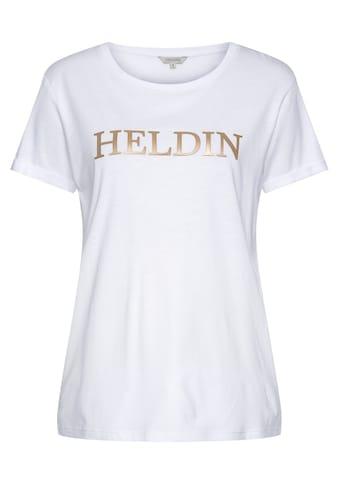 """Herrlicher T-Shirt »KENDALL«, mit goldfarbigem """"Heldin"""" Statement Frontprint kaufen"""