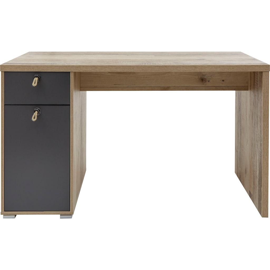 Schreibtisch »Merlin«, mit Seilgriffen, im modernen Dekor Old Style hell