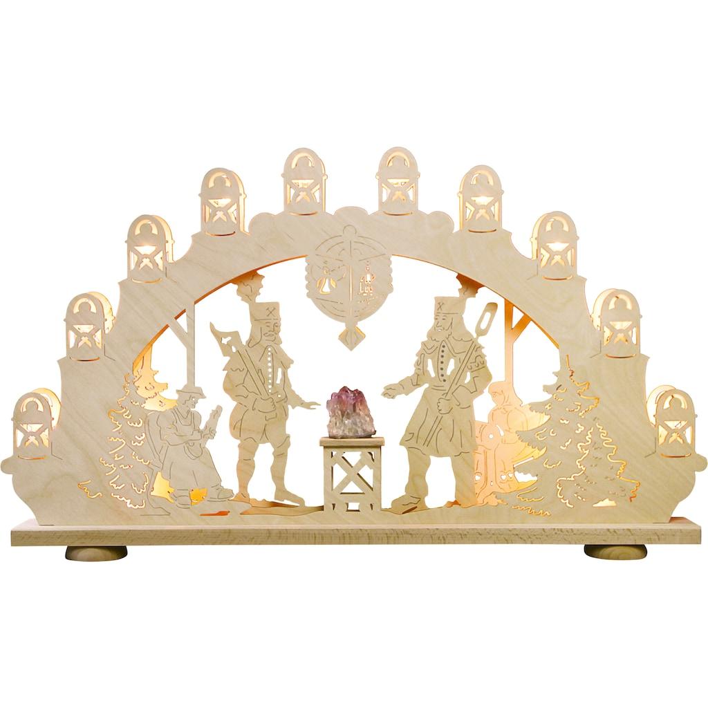 Weigla LED Schwibbogen »Bergmann mit Amethyst«, 1 tlg., 15-flammig