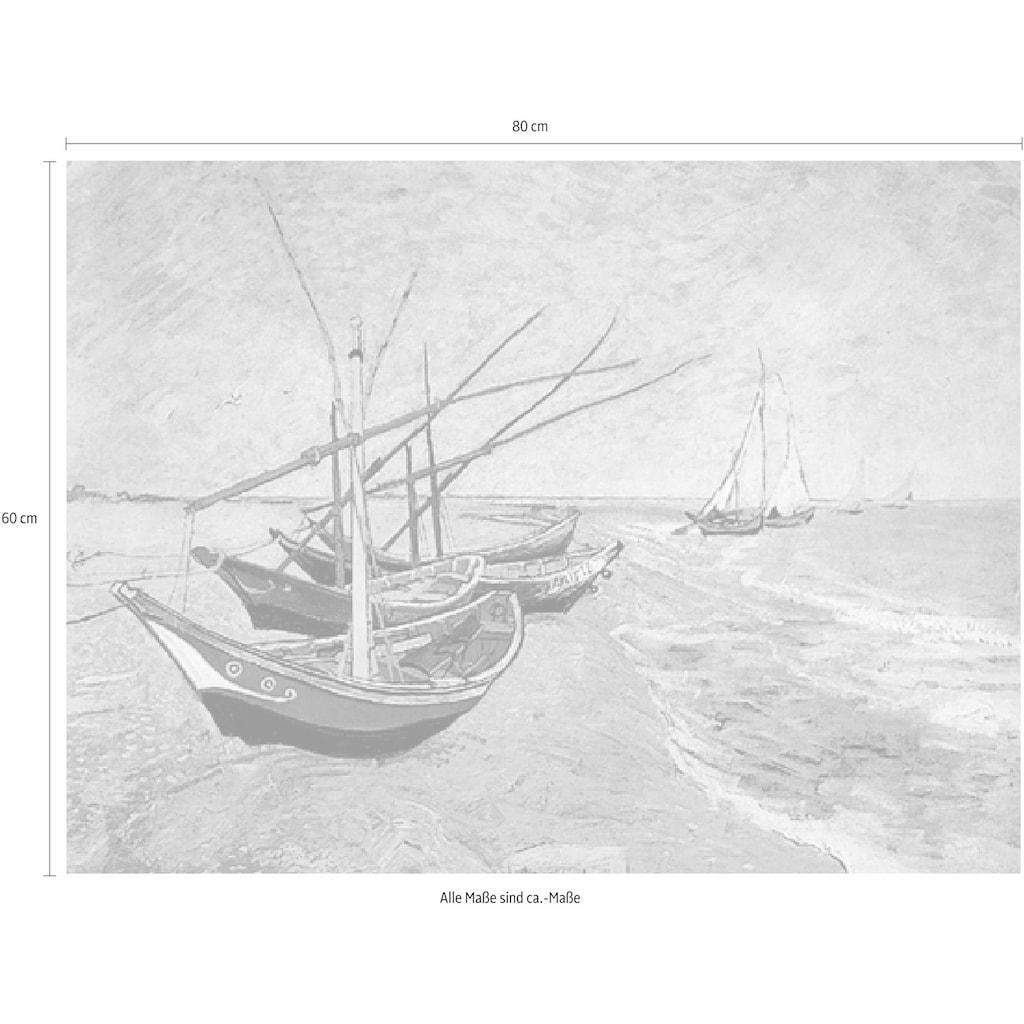 Home affaire Deco-Panel »V.VAN GOGH / Barche sulla spiaggia«, 80/60 cm