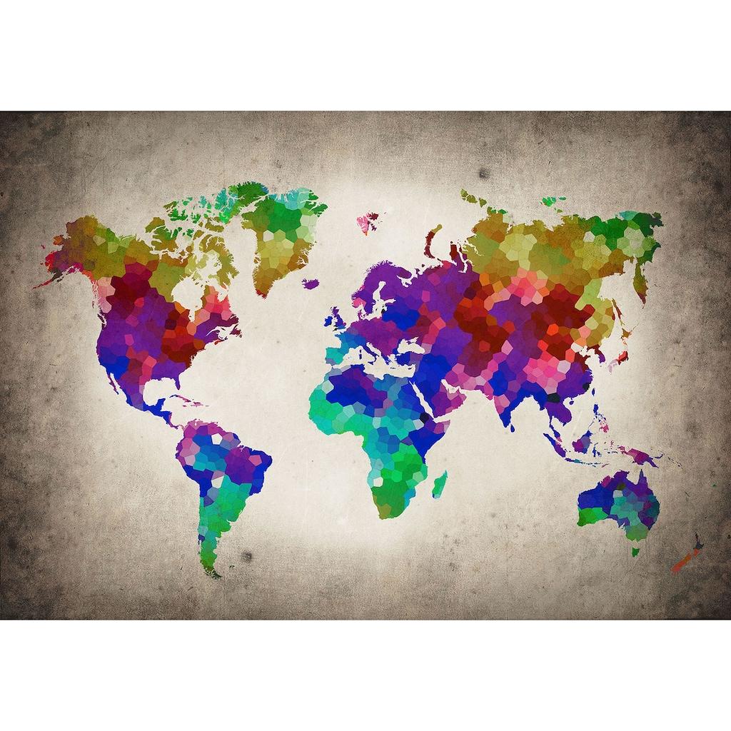 Consalnet Vliestapete »Bunte Weltkarte«, verschiedene Motivgrößen, für das Büro oder Wohnzimmer