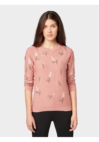 TOM TAILOR Strickpullover »Pullover mit Blumen - Stickerei« kaufen