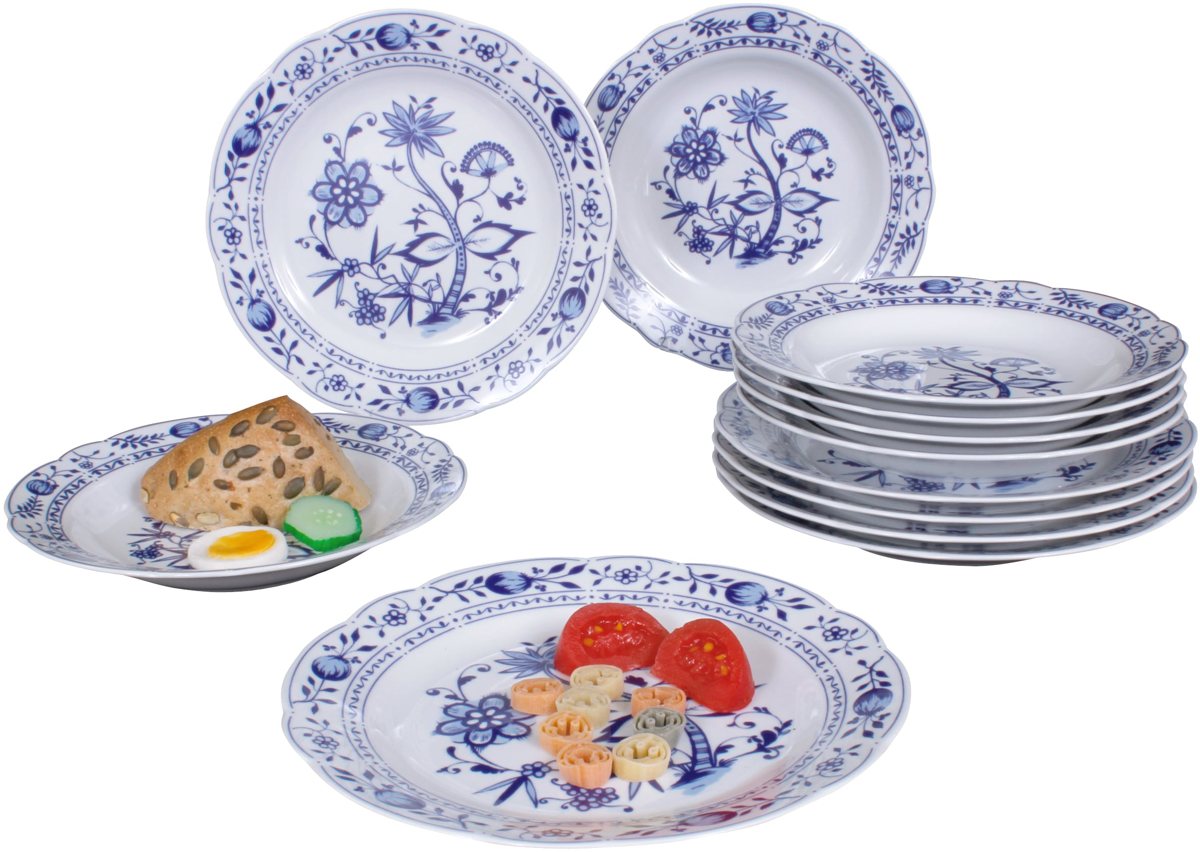 Eschenbach Tafelservice Romantika - Zwiebelmuster, (12 tlg.), Made in Germany weiß Geschirr-Sets Geschirr, Porzellan Tischaccessoires Haushaltswaren