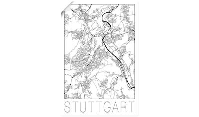 Artland Wandbild »Retro Karte Stuttgart Deutschland«, Deutschland, (1 St.), in vielen Größen & Produktarten - Alubild / Outdoorbild für den Außenbereich, Leinwandbild, Poster, Wandaufkleber / Wandtattoo auch für Badezimmer geeignet kaufen