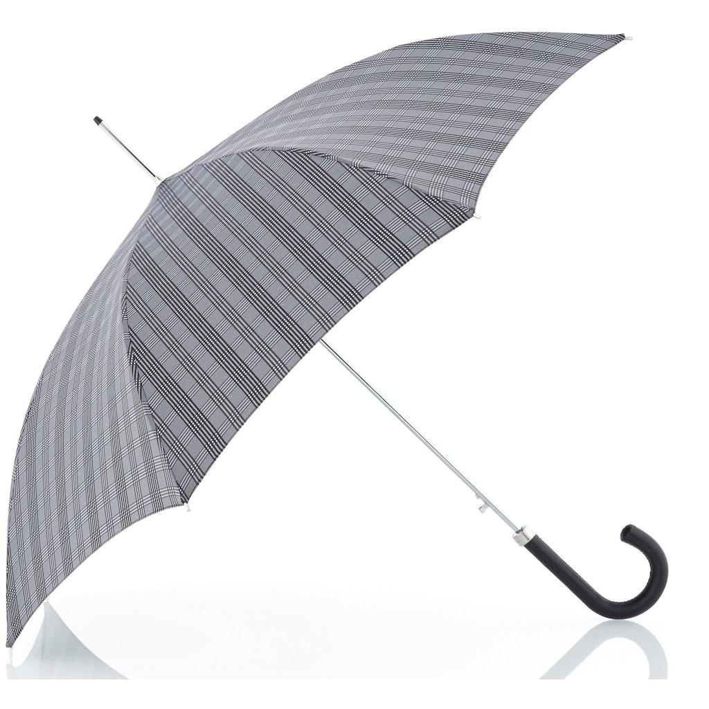 doppler MANUFAKTUR Stockregenschirm »Orion, karo grau«, handgemachter Manufaktur-Stockschirm