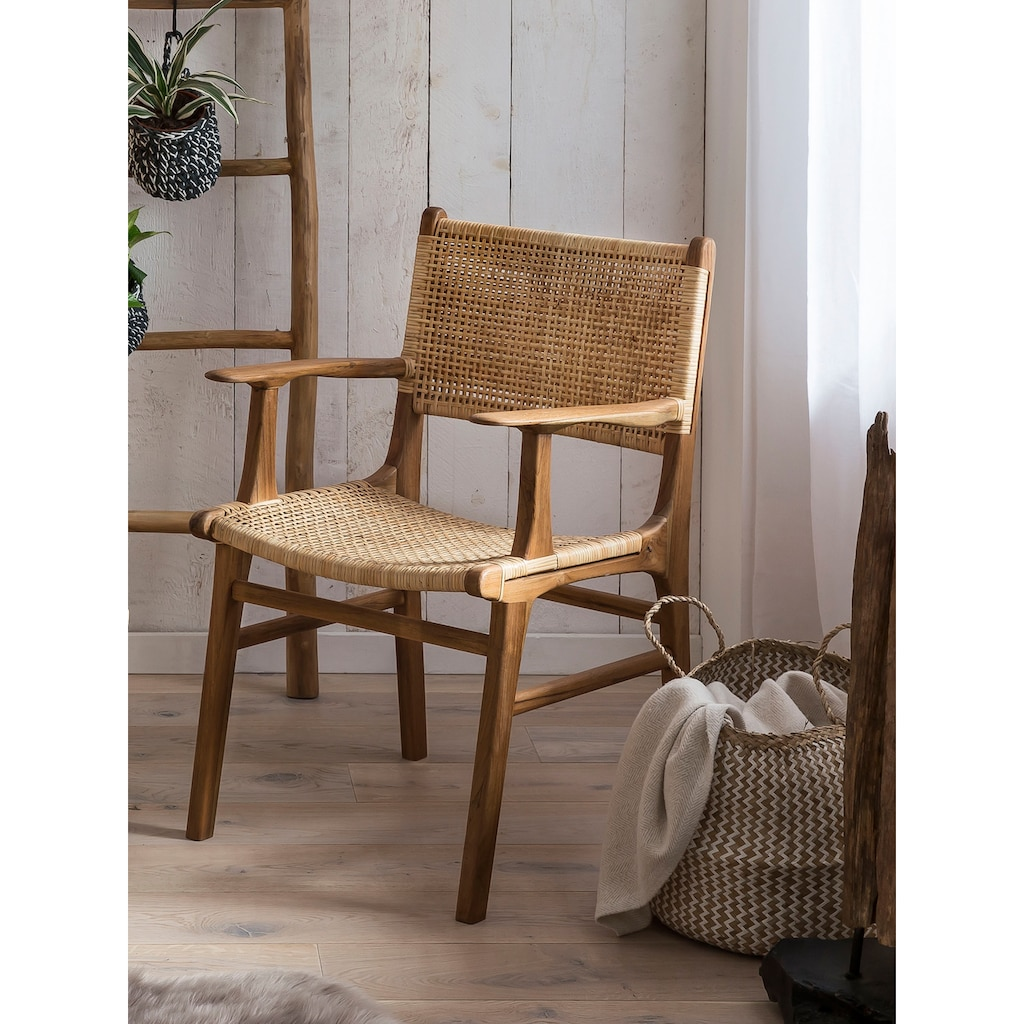 SIT Esszimmerstuhl, mit Armlehnen, moderner Rattanstuhl