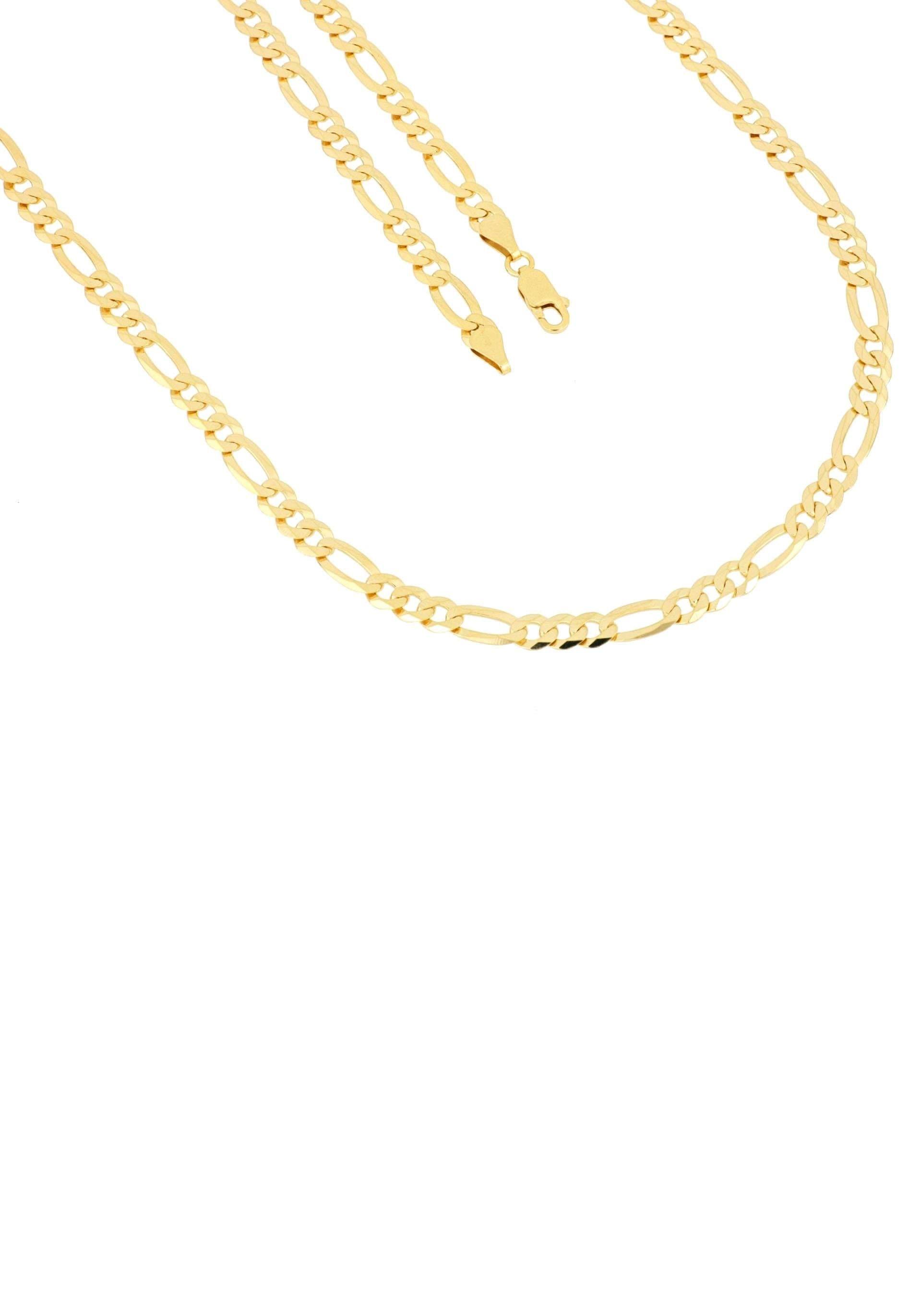 Firetti Kette ohne Anhänger in Figarokettengliederung 53 mm glänzend vergoldet klassisch zeitlos 6-fach diamantiert | Schmuck > Halsketten > Ketten ohne Anhänger | Firetti