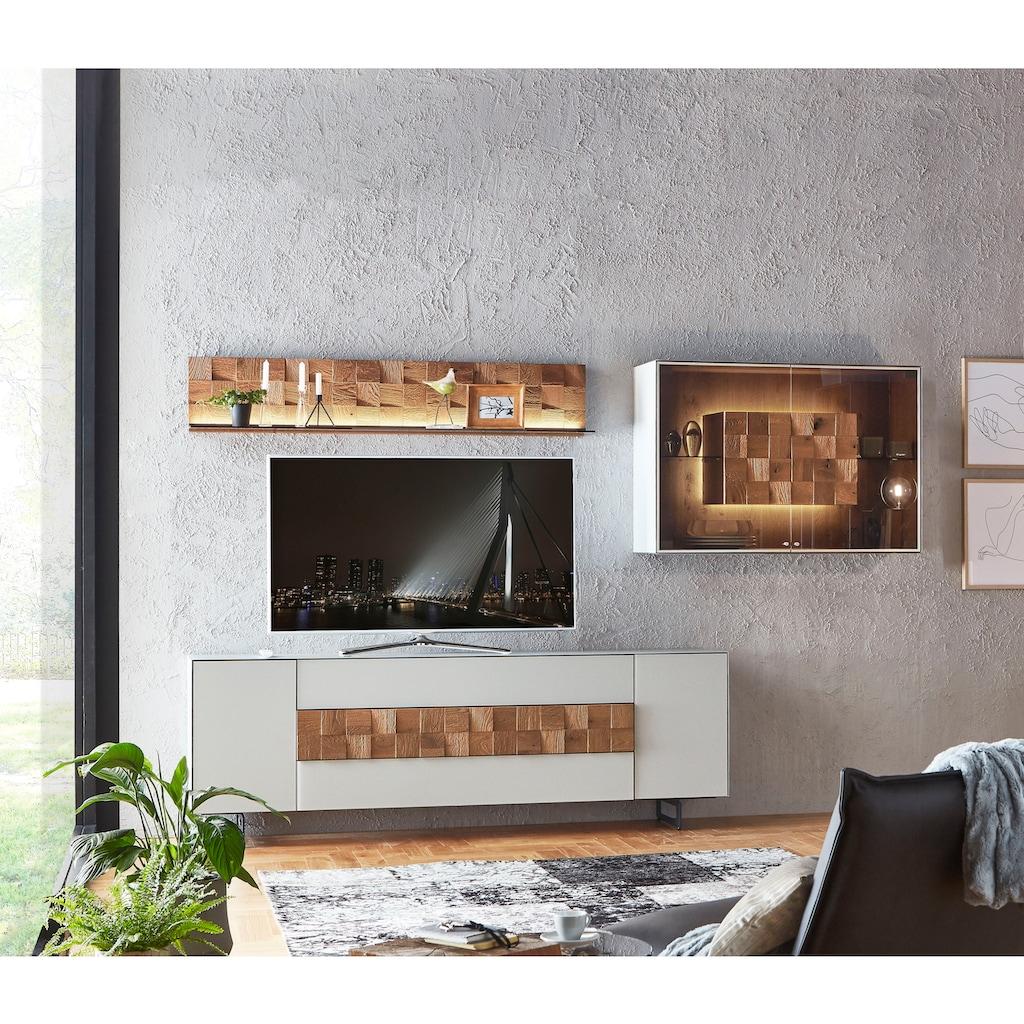 LEONARDO Wohnzimmer-Set »LIV«, (4 St.), Massivholzkacheln enthalten, mit Hängevitrine und Wandpaneel, in Mattglas grau