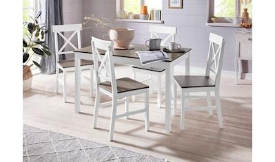 Homexperts Essgruppe »Milow«, (Set, 5 tlg.), aus Massivholz, bestehend aus Esstisch Breite 118 cm und 4 Stühlen kaufen