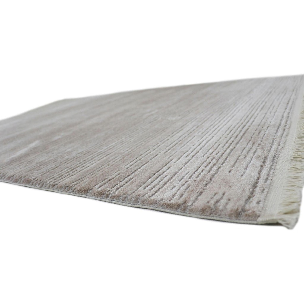 RESITAL The Voice of Carpet Teppich »Laguna 010«, rechteckig, 11 mm Höhe, Kurzflor, gewebt, Hoch-Tief-Struktur, mit Fransen, Wohnzimmer