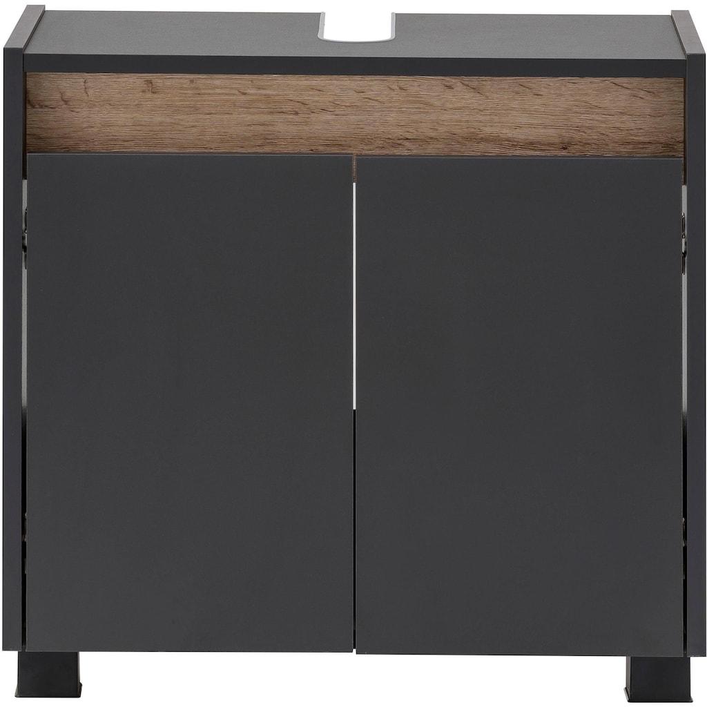 Schildmeyer Waschbeckenunterschrank »Cosmo«, Höhe 54,6 cm, Badezimmerschrank mit griffloser Optik, Blende im modernen Wildeiche-Look, Ausschnitt für Abwasserleitung