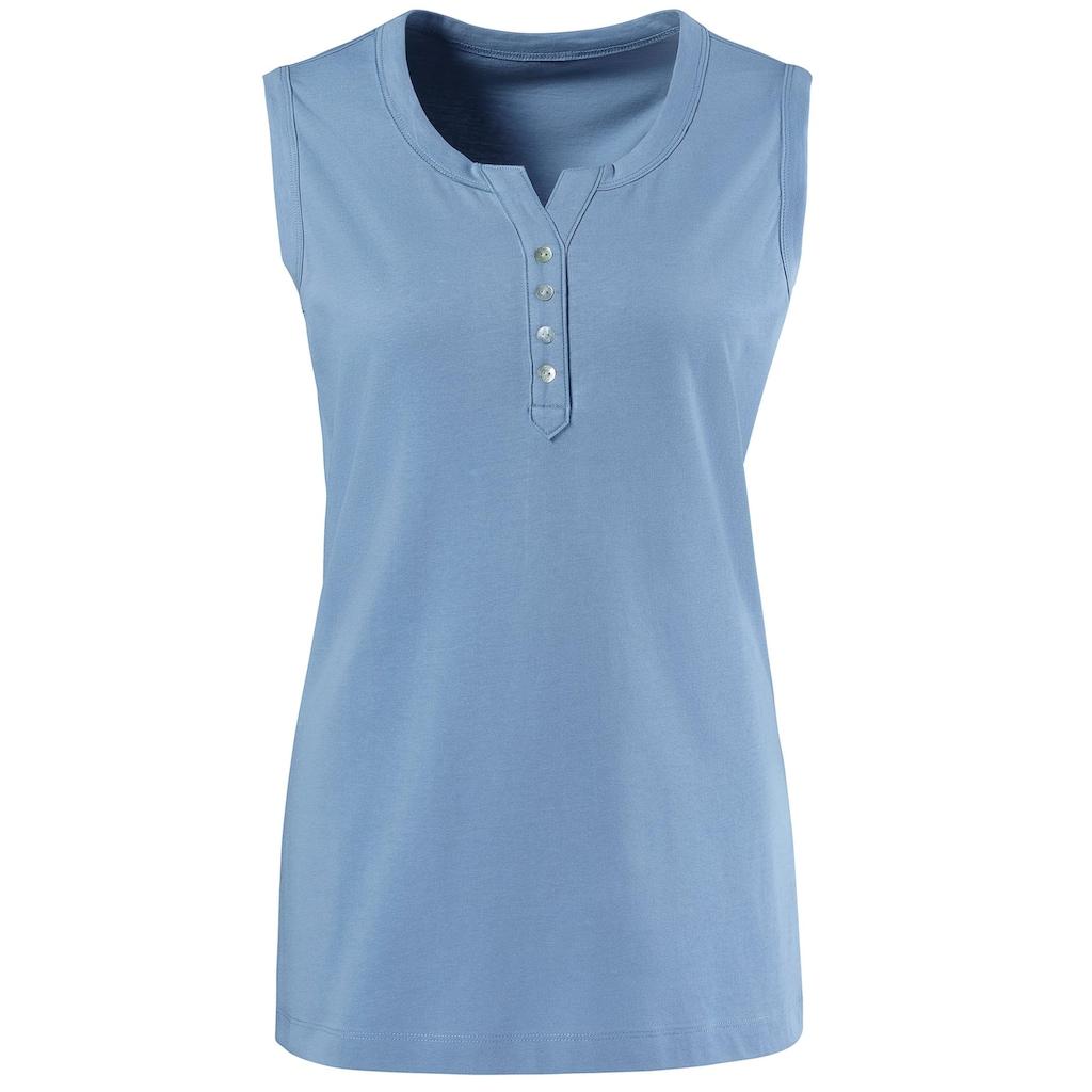 Classic Basics Shirttop mit Rundhals- und kleinem V-Ausschnitt